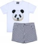 Mon Petit Bonbon Conjunto Niño Camiseta Blanca Oso & Short Vichy Negro