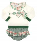 Ivory & Green Trim Knitted Sweater & Ruffle Shorts Set