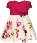 Vestido Niña Tafetán Estampado Floral Fucsia
