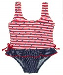 Navy & Red Anchor Swimsuit With Ruffle