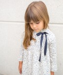 Ivory & Dark Blue Star Print Dress with Satin Bow