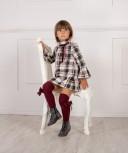 Beige & Grey Tartán Check Dress with Velvet Bow