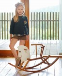 Girls Green Checked Blouse & Corduroy Shorts Set