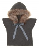 Gray Knitted Poncho Gillet With Synthetic Fur Hood & Satin Bow