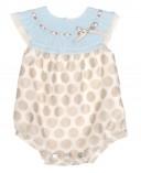Blue & Beige Fine Knitted Babysuit