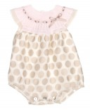 Pink & Beige Fine Knitted Babysuit