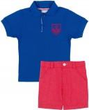 Conjunto Niño Polo Algodón Azul Fuerte & Short Rojo