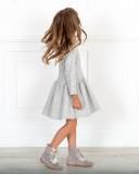 Dolce Petit Vestido Niña Sudadera Estrellitas Glitter con Capucha Gris
