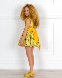 Badum Badero Vestido Niña Vuelo Estampado Flores & Loros Amarillo