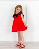 Missbaby Vestido Niña Rojo & Cuello Volante Lunares Marino