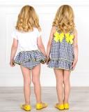 Mon Petit Bonbon Jesusito Niña Vichy Negro & Lazos Amarillos