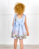 Vestido Niña Vuelo Rayas & Estampado Floral Azul