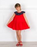Vestido Mariola Rojo & Cuello Volante Lunares Marino