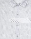 White & Navy Blue Cotton Polka Dot Shirt