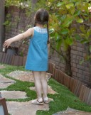 Blue & Check print Flired Dress with Bow