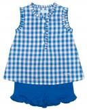 Girls Blue Frilled Cotton Shorts