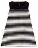 Girls Black & White Striped Dress With Organza Brooch