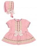 Baby Pink Cheviot Dress & Bonnet Set