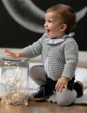 Baby Boys Blue Striped Shirt & Polka Dot Knickers Set