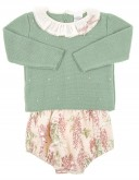 Baby Green knitted sweater & floral short set
