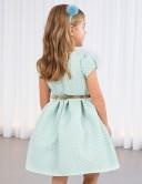 Vestido Niña Jacquard Geométrico Azul Jade & Dorado