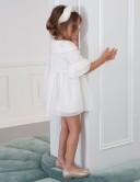 Vestido Niña Tul Fantasía Blanco Roto & Dorado