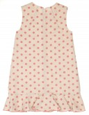 Girls Beige & Pink Ruffle Hem Dress