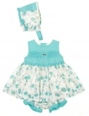Conjunto Floral Vestido, Pololos & Gorro Verde Agua