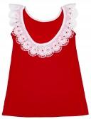 Ancar Vestido Niña Rojo Volante Blanco Algodón