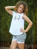 Ivory Polka Dot Top & Pastel Green Lace Short Set