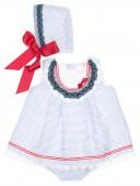 Blue & White Lace 3 piece Dress Set