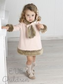 Blush Pink Dress with Synthetic Fur Collar, Cuffs & Hem