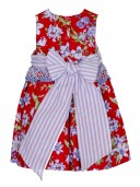 Red Floral Structured Dress with Striped Ribbon