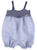 Girls Navy Knitted & Cotton Playsuite