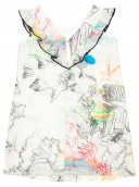 Colourful Fish Print Dress With Frilly V-Neck Back