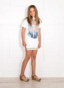 Girls Ivory Cotton Jersey & Lace 2 Piece Dress Set