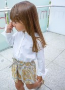 Ivory Blouse & Mustard Cachemire Print Skirt Dress