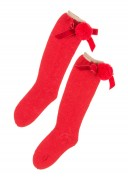 Red Knitted Long Socks With Pompoms