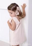 Peony Pink Dress with Ruffle Collar & Bow