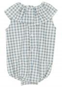 Blue & White Check Print Babysuit