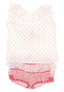 Ivory & Coral Pink Polka Dot Top & Jacquard Ruffle Short Set