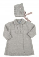 Grey 2 Piece Cotton Knitted Coat & Bonnet Set