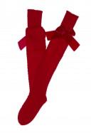 Red Fine Knitted Long Socks with Velvet Bow