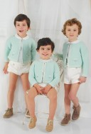 Boys Pastel Green & Ivory Cotton Knitted Cardigan
