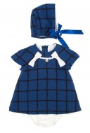 Blue Check Print Dress, Bonnet & Short 3 piece Set