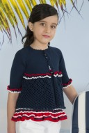 From Kauli, this Navy Pointelle Knit Cardigan features an elegant design.