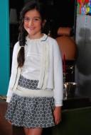 Ivory Blouse & Blue Geometric Print Skirt Set