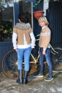 Beige Knitted Poncho Sweater with Removable Fur Collar
