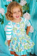 Aqua Green Floral Lace Dress