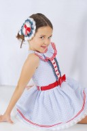 Blue & White Lace Dress with Red Bow Belt